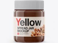 Glass Jar with Chocolate Spread Mockup