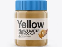 Glass Jar with Peanut Butter Mockup