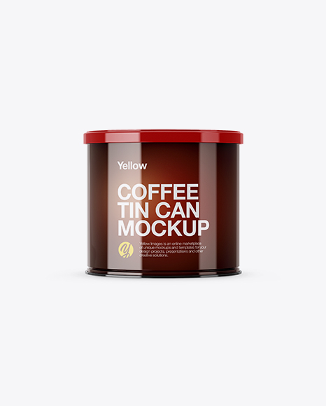 Glossy Coffee Tin Can Mockup - Front View