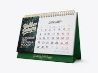 Textured 12 Months Desk Tent Calendar Mockup - Half Side View
