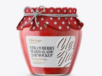 Glass Strawberry Marmalade Jar with Paper Cap Mockup