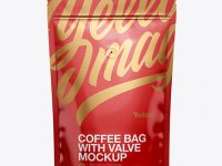 Glossy Coffee Bag W/ Valve Mockup - Front View