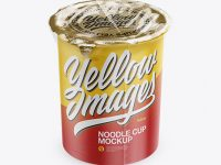 Noodle Cup With Foil Lid & Film Mockup (High-Angle Shot)