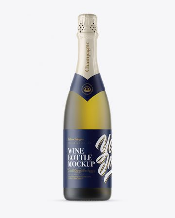 Frosted Green Glass Champagne Bottle Mockup