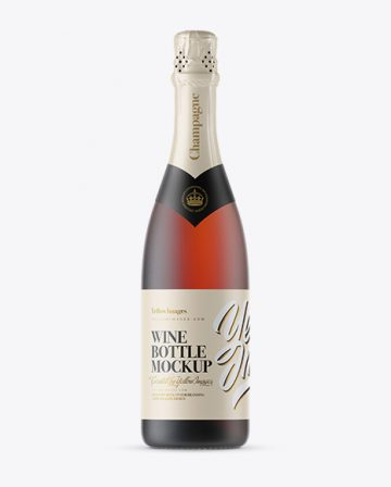 Frosted Red Glass Champagne Bottle Mockup