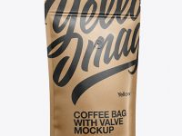 Paper Coffee Bag W/ Valve Mockup - Half Side View
