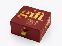 Textured Gift Box Mockup - Half Side View (High-Angle Shot)