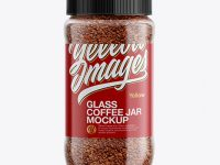 150g Glass Jar with Instant Coffee Mockup - Front View