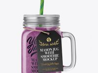 Closed Mason Jug with Straw and Label Mockup (Berries Smoothie)