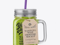 Closed Mason Jug with Straw and Label Mockup (Green Smoothie)