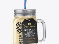 Closed Mason Jug with Straw and Label Mockup (Banana Smoothie)