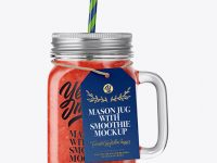 Closed Mason Jug with Straw and Label Mockup (Watermelon Smoothie)