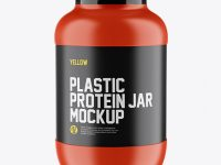 Matte Protein Jar With Glossy Cap Mockup