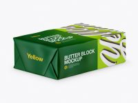 Matte Butter Block Mockup - Half Side View (High-Angle Shot)