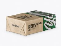 Kraft Paper Butter Block Mockup - Half Side View (High-Angle Shot)