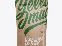 Kraft Coffee Bag W/ Valve Mockup - Half Side View