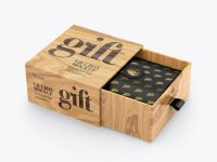 Opened Wooden Gift Box Mockup - Half Side View