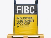 Wooden Pallet With FIBC Big Bag Mockup - Side View