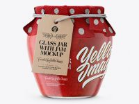 Glass Strawberry Marmalade Jar with Fabric Cap and Label Mockup