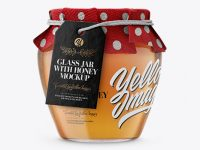 Glass Honey Jar with Fabric Cap and Label Mockup
