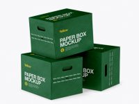 Three Matte Paper Boxes Mockup