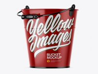 Glossy Bucket Mockup - Half Side View