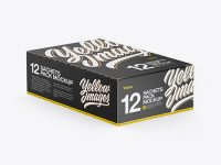 12 Snacks Closed Box Mockup - Half Side View
