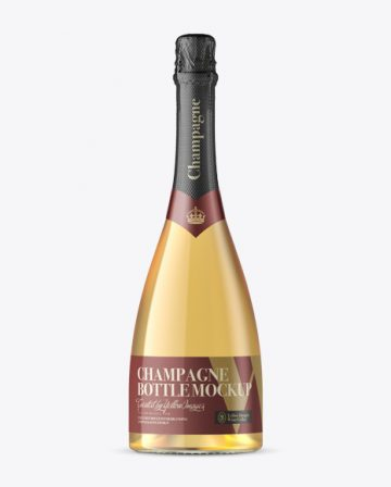 Clear Glass Champagne Bottle Mockup - Front View