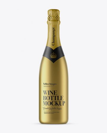 Matte Metallic Champagne Bottle with Textured Foil Mockup