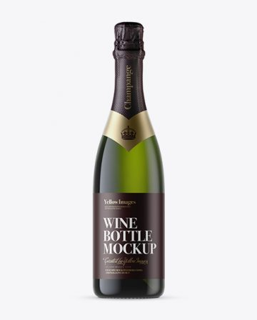 Green Glass Champagne Bottle with Textured Foil Mockup