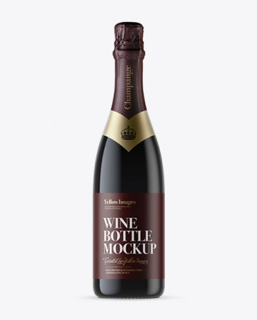Dark Glass Champagne Bottle with Textured Foil Mockup