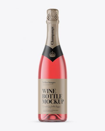 Clear Glass Pink Champagne Bottle Mockup