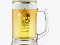 Tankard Glass Mug with Pilsner Beer Mockup