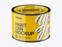 Glossy Paint Can Mockup - High Angle