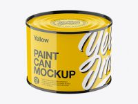 Glossy Paint Can Mockup - High-Angle Shot