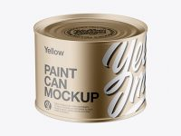 Metallic Paint Can Mockup - High-Angle Shot