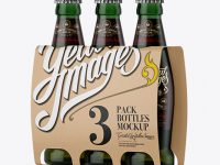Kraft Paper 3 Pack Light Green Bottle Carrier Mockup - Halfside View