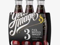White Paper 3 Pack Red Liquid Bottle Carrier Mockup - Halfside View