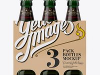 Kraft Paper 3 Pack Dark Green Bottle Carrier Mockup