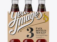 Kraft Paper 3 Pack Red Liquid Bottle Carrier Mockup