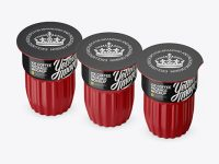 Glossy Ice Coffee 3 K-Cups Package Mockup - Halfside View (High-Angle Shot)