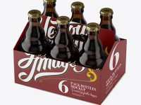 White Paper 6 Pack Amber Bottle Carrier Mockup - Halfside View (High-Angle Shot)