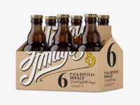 Kraft Paper 6 Pack Amber Bottle Carrier Mockup - Halfside View