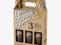 Kraft Paper 3 Pack Amber Bottle Carrier Mockup - Halfside View (High-Angle Shot)