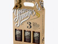 Kraft Paper 3 Pack Beer Bottle Carrier Mockup - Halfside View (High-Angle Shot)