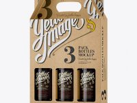 Kraft Paper 3 Pack Amber Bottle Carrier Mockup - Halfside View