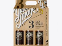 Kraft Paper 3 Pack Beer Bottle Carrier Mockup - Halfside View