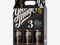 White Paper 3 Pack Beer Bottle Carrier Mockup - Halfside View
