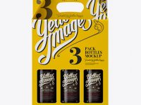 White Paper 3 Pack Amber Bottle Carrier Mockup