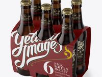 White Paper 6 Pack Amber Bottle Carrier Mockup - Halfside View (High Angle Shot)